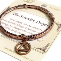 Serenity Prayer Metal Stretch Bracelet with AA Charm - Copper