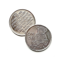 Teddy Bear One Day At A Time Aluminum Coin