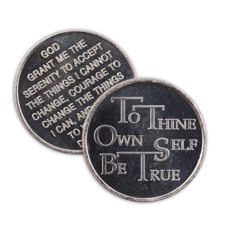 To Thine Own Self Be True Aluminum Affirmation Coin