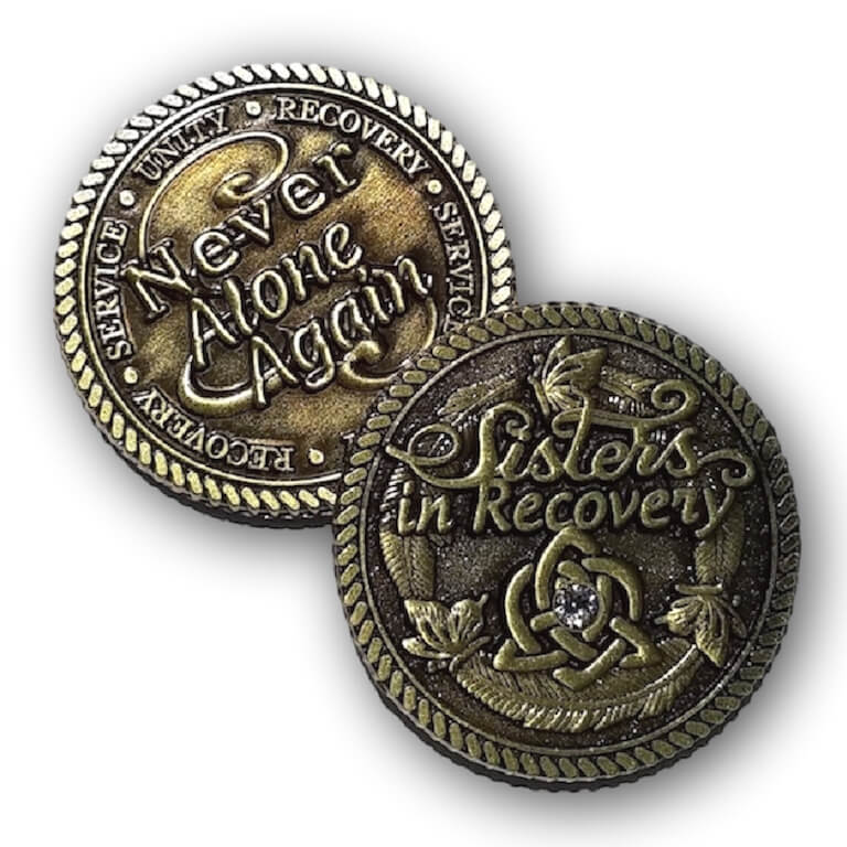 Sisters In Recovery Bronze Medallion with Stone