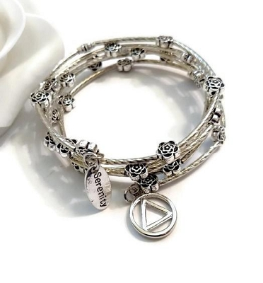 Flower Wrap Wire Bracelet - AA