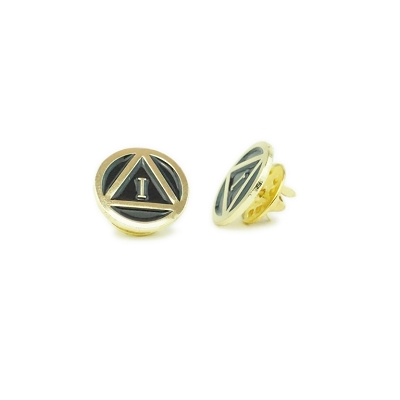 Gold Circle Triangle Motif Yearly Pin