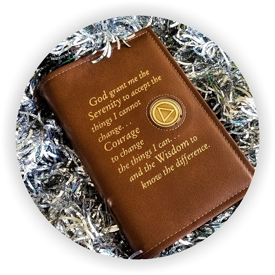 SINGLE BIG BOOK COVER W/Serenity Prayer and Coin Holder