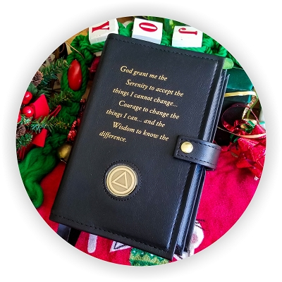 DOUBLE BIG BOOK COVER W/Serenity Prayer and Coin Holder