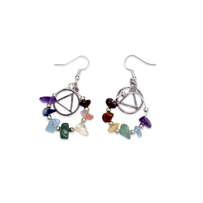 Multicolor Stone Wire Hoop AA Earring