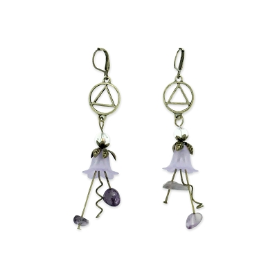 Purple Flower AA Earring