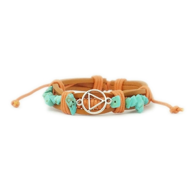 Orange Leather Adjustable AA Bracelet With Turquoise Beads