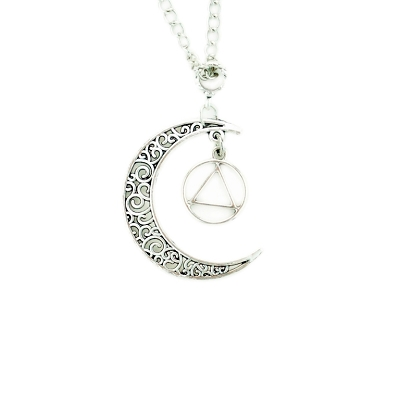 Silver Moon Dangle Necklace with AA Charm