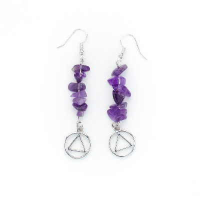 Amethyst Earrings with Silver Tone AA Charm