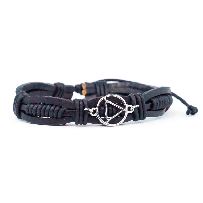 Black Leather Adjustable AA Bracelet