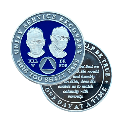 Bill & Bob with Masks On | Masked Founders AA Coins Blue & Gray
