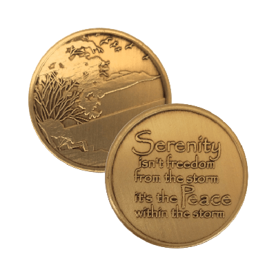 Serenity is Peace Within the Storm Wendells Bronze Affirmation Medallions