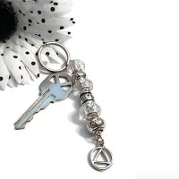 Clear Faith Hope & Love Crystal Keychain AA