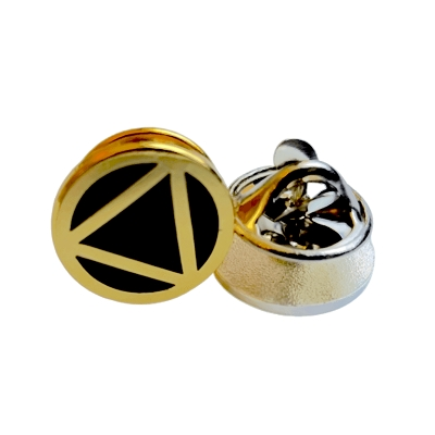 Gold Circle Triangle Motif 13mm Pin