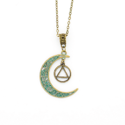 Bronze Patina Moon Dangle Necklace with AA Charm
