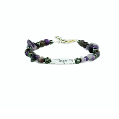 Big Book Bead Bracelet Single Strand Purple
