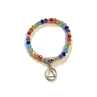Rainbow Stretch Crystal Bracelet - AA