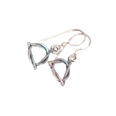 Sterling silver AA Circle Triangle Earrings