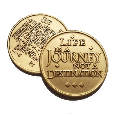 LIfe Is A Journey Bronze Affirmation Medallion
