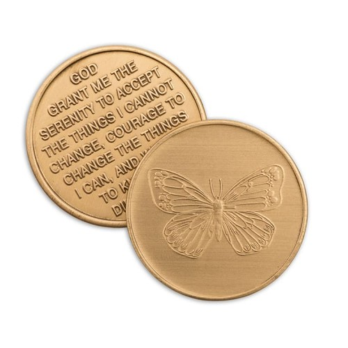 Butterfly Serenity Prayer Bronze Affirmation Medallions