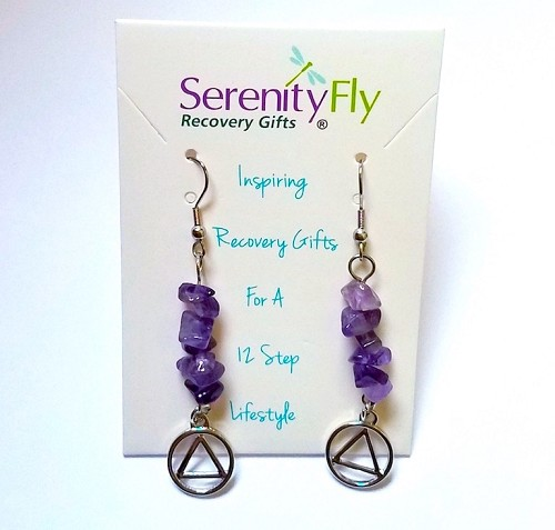 Amethyst Earrings with Silver Tone Charm