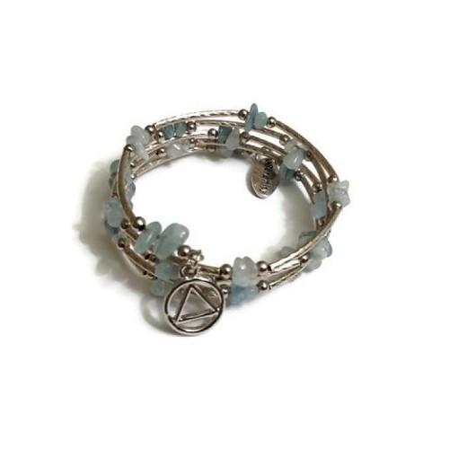 Aquamarine Wire Wrap Bracelet Aa