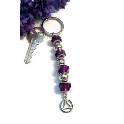 Purple Faith Hope & Love Crystal Keychain AA