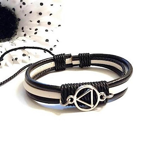 Black and White Leather Adjustable Bracelet