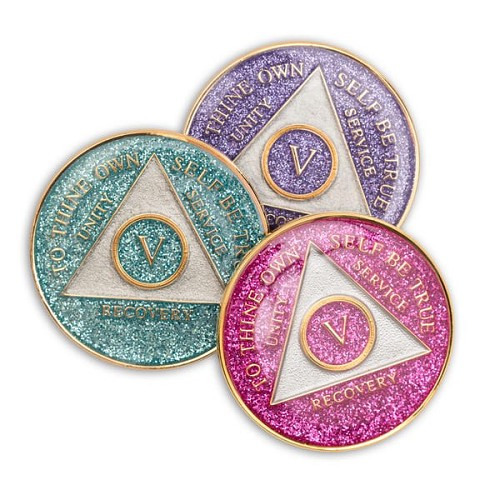 Silver Glitter Triplate AA Medallions