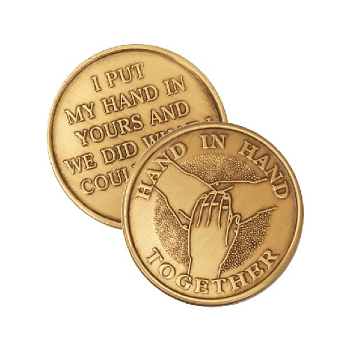 Hand in Hand Together Wendells Bronze Affirmation Medallions