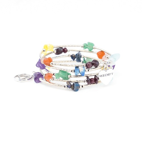 Multicolor Crystal Wire Wrap Bracelet with AA Charm